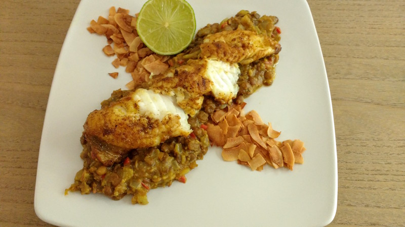 Monkfish, with dhal and roasted coconut