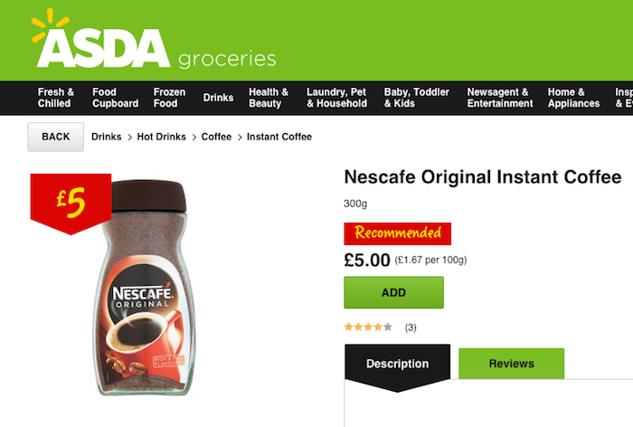 Nescafe price at Asda